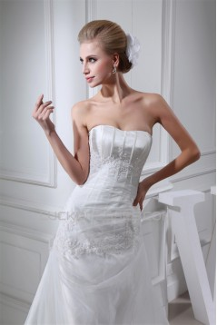 A-Line Strapless Satin Lace Organza Sweet Wedding Dresses 2030331