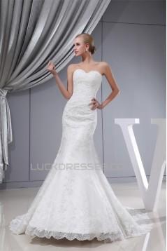 Trumpet/Mermaid Sweetheart Satin Lace Wedding Dresses 2030332