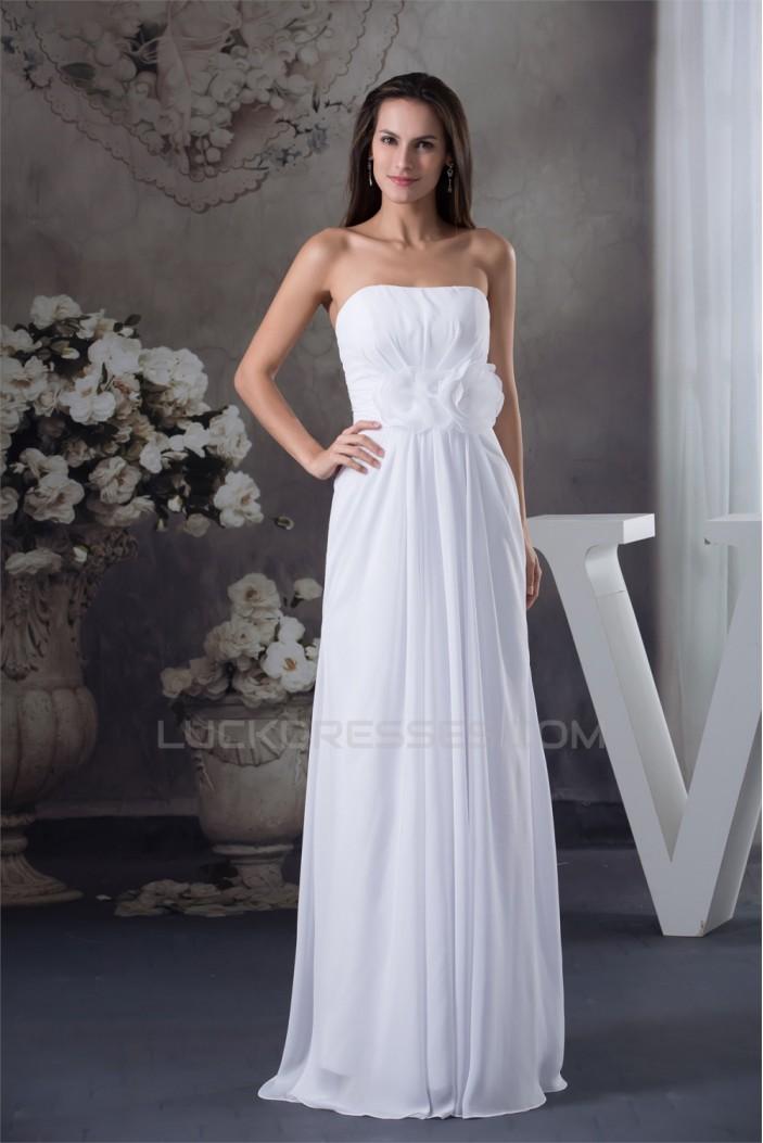 Sheath/Column Strapless Chiffon Wedding Dresses 2030334
