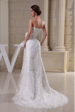 Sheath/Column Sweetheart Sleeveless Satin Lace Sweet Wedding Dresses 2030337