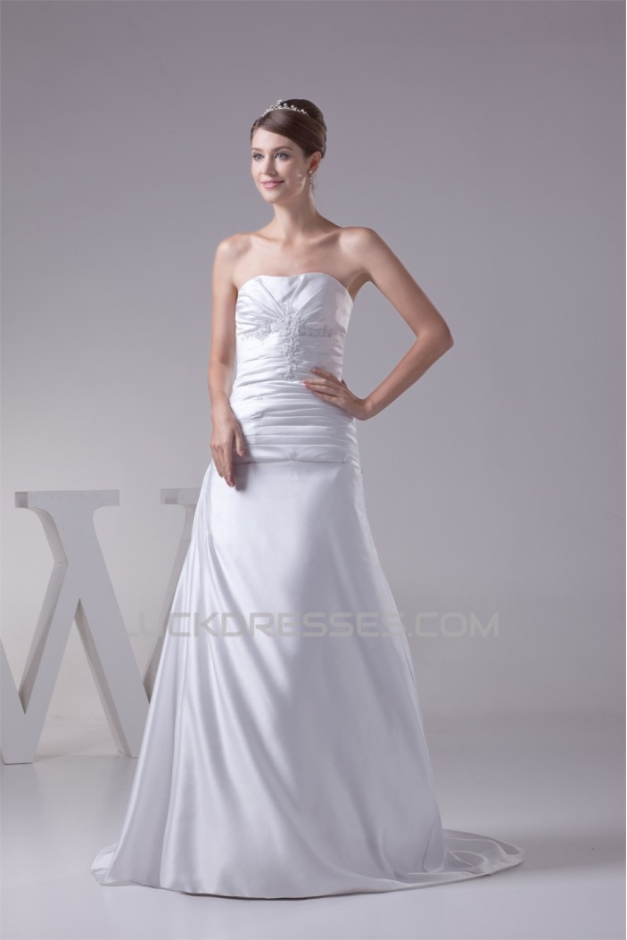 A-Line Strapless Sleeveless Satin Lace Wedding Dresses 2030338
