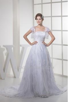 A-Line Strapless Satin Lace Fine Netting Short Sleeve Wedding Dresses 2030339