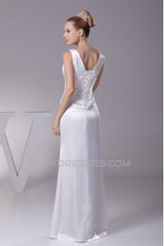 Sheath/Column V-Neck Sleeveless Wedding Dresses 2030340