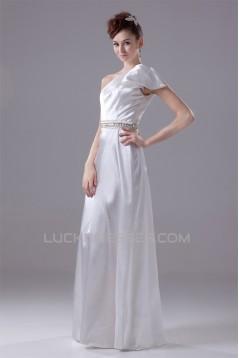 A-Line One-Shoulder Silk like Satin Sleeveless Beaded Wedding Dresses 2030341