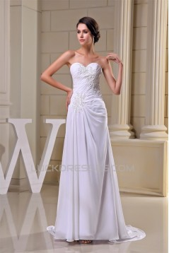 Sheath/Column New Arrival Chiffon Lace Beaded Wedding Dresses 2030343