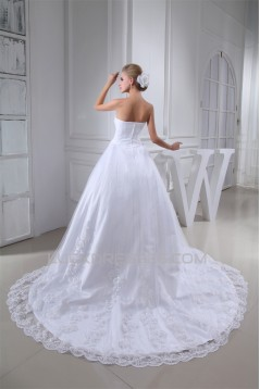 A-Line Sleeveless Satin Lace Fine Netting Best Wedding Dresses with A Lace Jacket 2030346