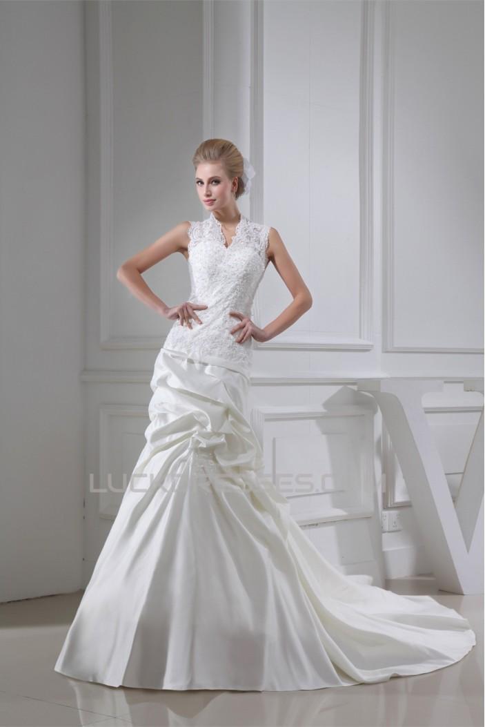 Trumpet/Mermaid Satin Lace Fine Netting New Arrival Wedding Dresses 2030347