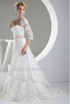 A-Line Satin Lace Silk like Satin Wedding Dresses with A Lace Jacket 2030348