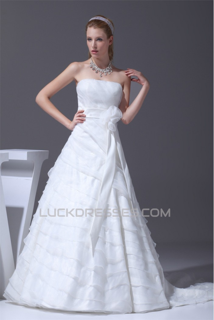 A-Line Satin Organza Sleeveless Strapless Wedding Dresses 2030349