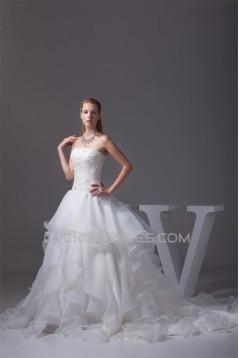 A-Line Satin Organza Lace Sleeveless Strapless Chapel Train Wedding Dresses 2030350