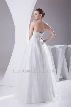 Sleeveless A-Line Satin Organza Strapless Sweet Wedding Dresses 2030351