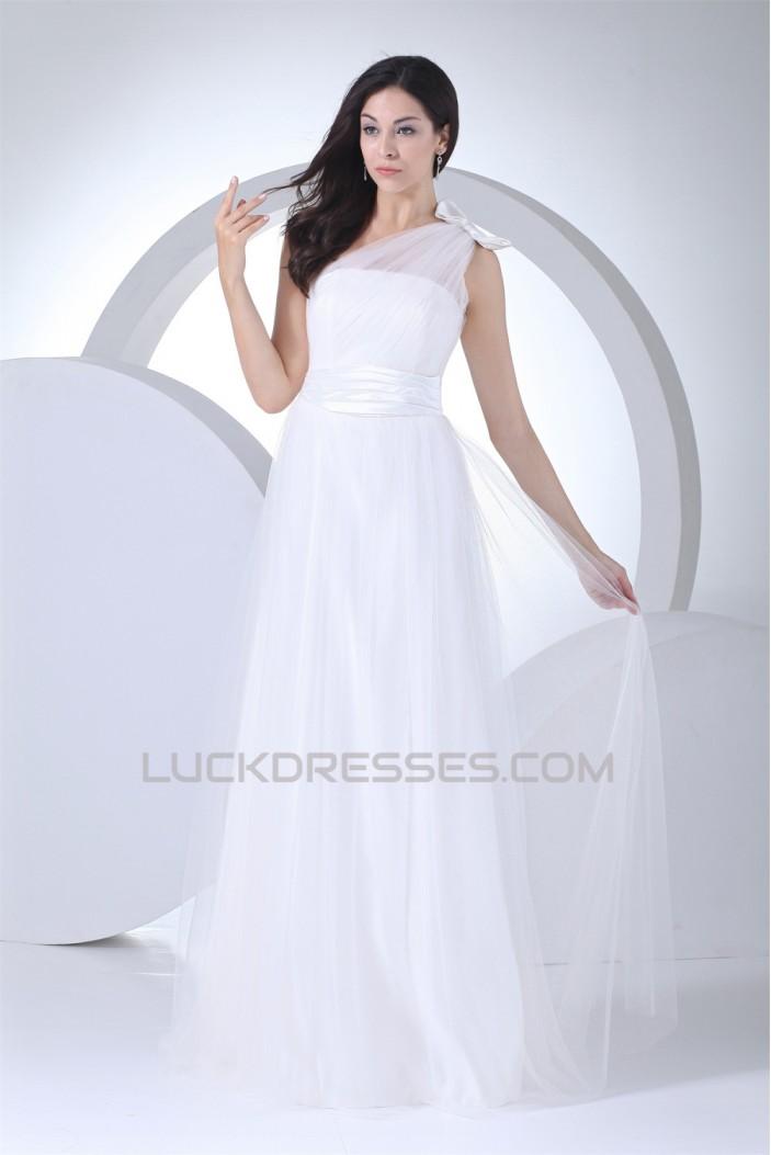 A-Line One-Shoulder Satin Silk like Satin Fine Netting Wedding Dresses 2030352