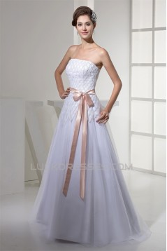 A-Line Strapless Sleeveless Satin Fine Netting Wedding Dresses 2030353