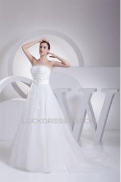 Sleeveless A-Line Strapless Satin Organza Fine Netting Sweet Wedding Dresses 2030354