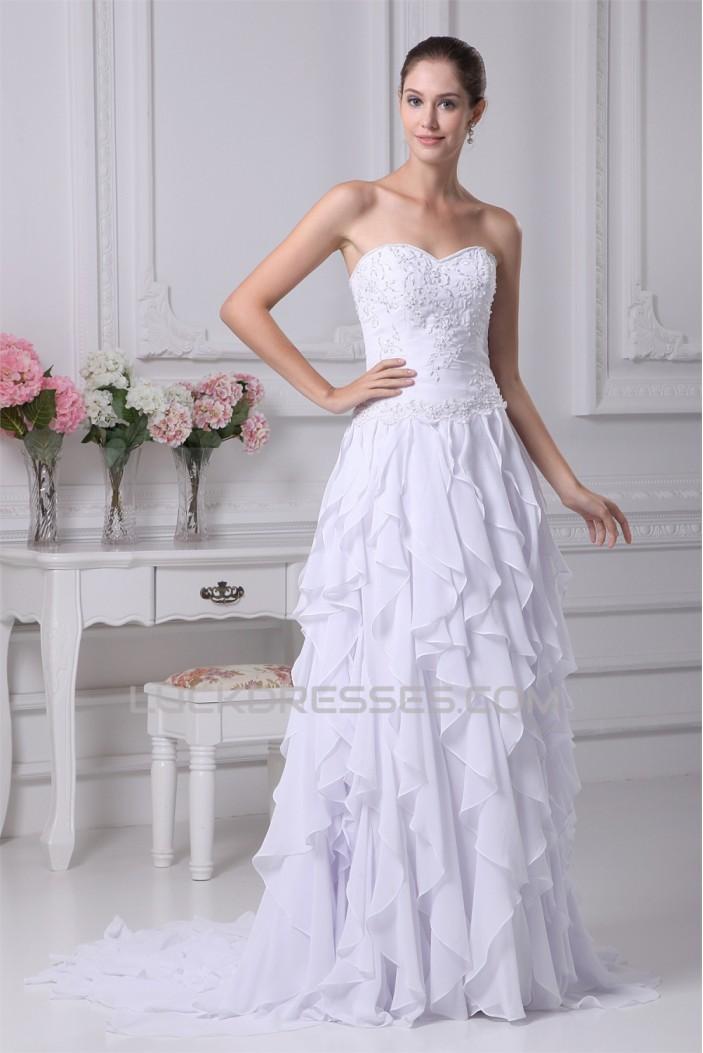Sleeveless A-Line Sweetheart Chiffon Silk like Satin Wedding Dresses 2030356