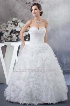 Sleeveless A-Line Sweetheart Satin Organza New Arrival Wedding Dresses 2030357