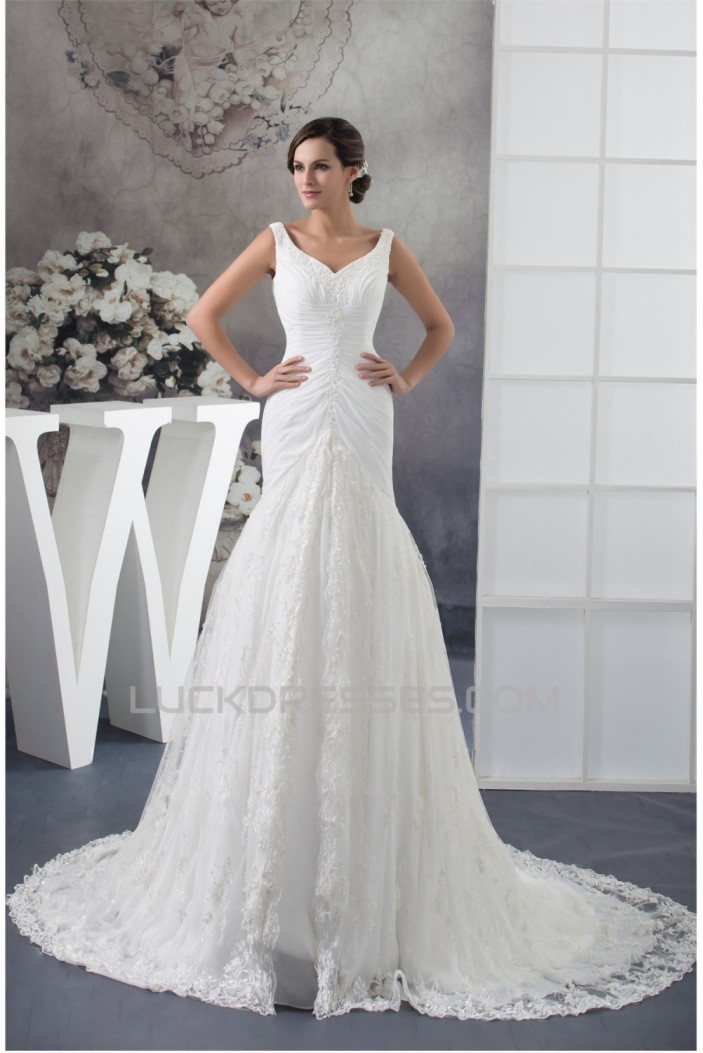 A-Line V-Neck Sleeveless Chiffon Satin Lace Best Wedding Dresses 2030358