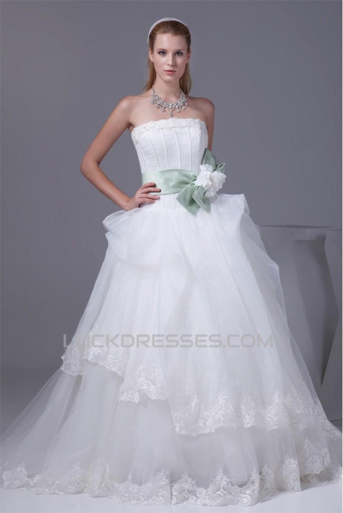 Ball Gown Strapless Sleeveless Satin Organza Nettting New Arrival Wedding Dresses 2030359