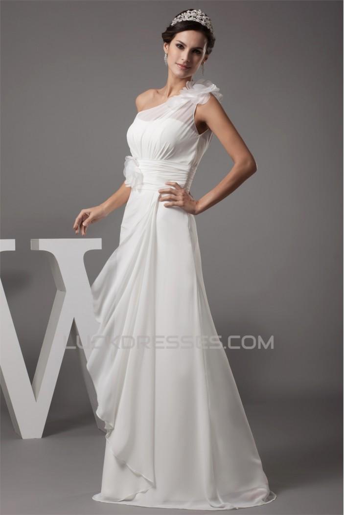 Sheath/Column Chiffon Silk like Satin New Arrival Wedding Dresses 2030361