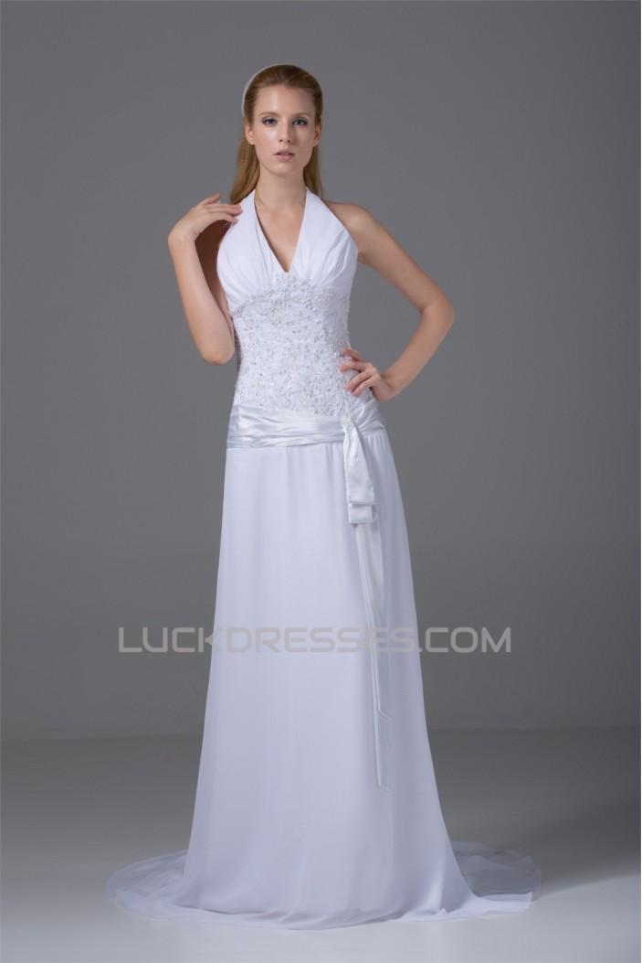 Sleeveless Chiffon Silk like Satin Halter Reception Wedding Dresses 2030362