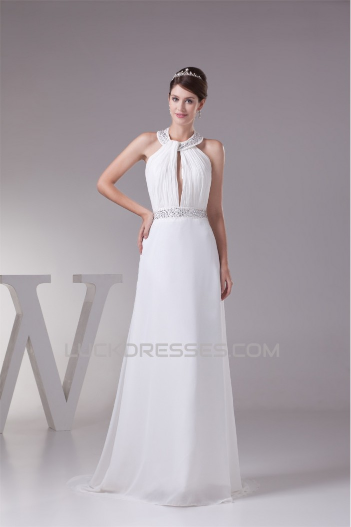 A-Line Chiffon Silk like Satin Halter Beaded Sweet Wedding Dresses 2030363