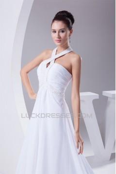 A-Line Chiffon Silk like Satin Halter Beaded Sweet Wedding Dresses 2030364
