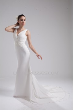 Trumpet/Mermaid Sleeveless Chiffon Beaded Reception Wedding Dresses 2030365