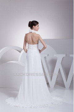 A-Line Halter Chiffon Silk like Satin Wedding Dresses 2030366