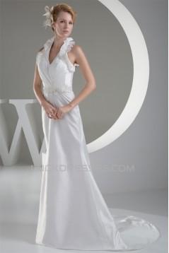 Sleeveless Halter Lace Taffeta Sheath/Column Sweet Wedding Dresses 2030367