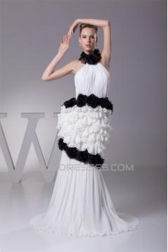 Sleeveless Halter Sheath/Column Chiffon Taffeta Silk like Satin New Arrival Wedding Dresses 2030369