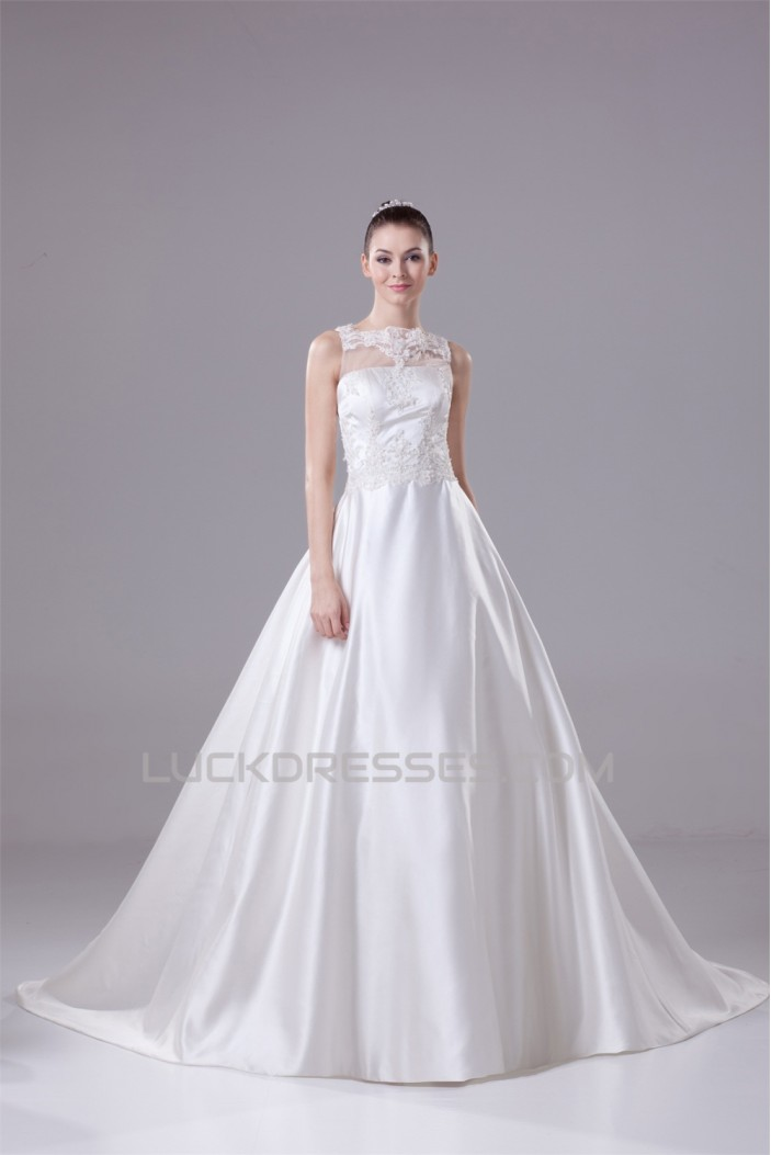 A-Line Sleeveless Satin Fine Netting Lace New Arrival Wedding Dresses 2030371