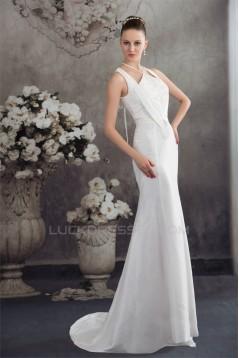 Mermaid/Trumpet Sleeveless Lace Taffeta Straps Reception Wedding Dresses 2030372