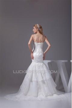 Mermaid/Trumpet Spaghetti Strap Satin Lace Sweetheart Reception Wedding Dresses 2030375