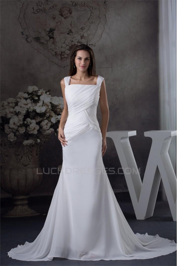 Sleeveless Mermaid/Trumpet Spaghetti Straps Chiffon Sweet Wedding Dresses 2030376