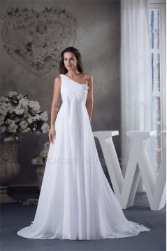 A-Line Chiffon Sleeveless One-Shoulder Wedding Dresses Maternity Wedding Dresses 2030377