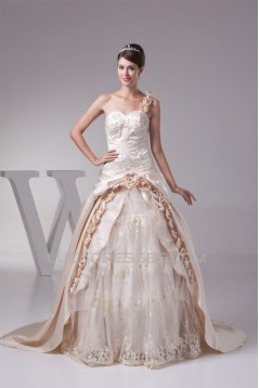 Ball Gown Sleeveless One-Shoulder Satin Lace Fine Netting Reception Wedding Dresses 2030378