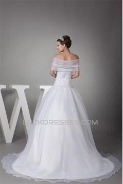 Sleeveless Portrait Satin Organza Princess New Arrival Wedding Dresses 2030379
