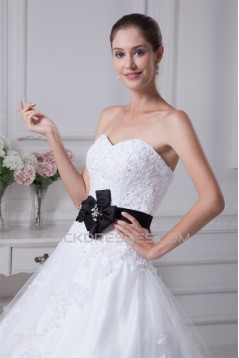 Ball Gown Sleeveless Princess Strapless Lace Satin Fine Netting Wedding Dresses 2030381