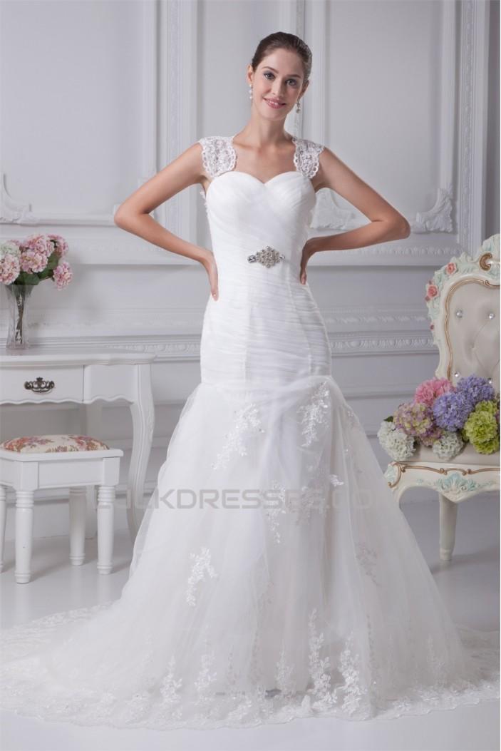 Sleeveless Satin Fine Netting A-Line Straps Lace Wedding Dresses 2030384