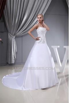 Sleeveless Satin Fine Netting Spaghetti Straps Beaded Wedding Dresses 2030386