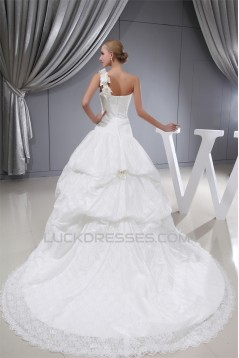 Ball Gown One-Shoulder Sleeveless Satin Lace Fine Netting Wedding Dresses 2030387