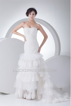 Trumpet/Mermaid Sleeveless Satin Lace Fine Netting Strapless Wedding Dresses 2030388