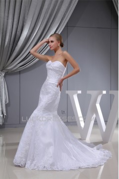 Trumpet/Mermaid Sweetheart Satin Beaded Lace Organza Wedding Dresses 2030391