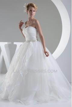 Ball Gown Sleeveless Satin Organza Sweetheart Wedding Dresses 2030394