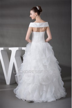 Sleeveless Satin Organza Sequined Lace Portrait Wedding Dresses 2030395