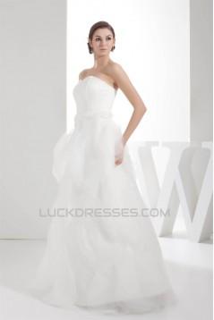 Sleeveless Satin Organza Sweetheart A-Line Sweet Wedding Dresses 2030397