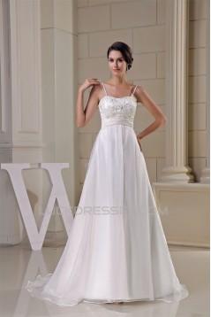 Sleeveless Satin Organza Taffeta Spaghetti Straps Wedding Dresses 2030398