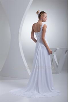 Sleeveless Sheath/Column Chiffon Silk like Satin Best Wedding Dresses 2030399
