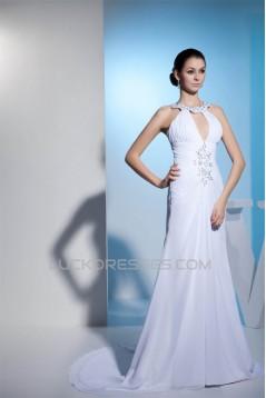 Sheath/Column Spaghetti Straps Beaded Chiffon Wedding Dresses 2030401