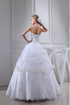 Ball Gown Beaded Satin Lace Organza Floor Length Wedding Dresses 2030406
